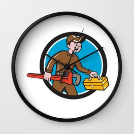 Plumber Carrying Monkey Wrench Toolbox Circle  Wall Clock