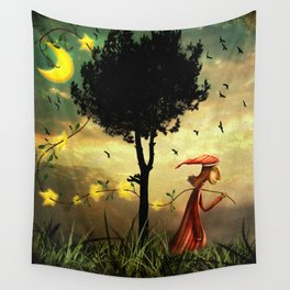The boy collecting stars Wall Tapestry