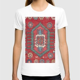 Tribal Honeycomb Palmette IV // 19th Century Authentic Colorful Red Flower Accent Pattern T-shirt