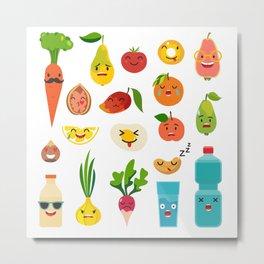 Emoticons food vector set. Cute funny stickers Metal Print