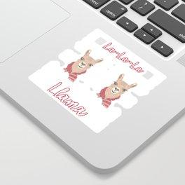 Llama Cute La La La Llama Ugly Christmas Look Sticker