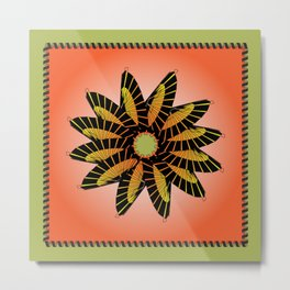 Orange Stitched Flower Metal Print