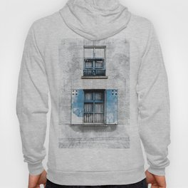 Architect Drawing of Blue Wooden Windows Hoody