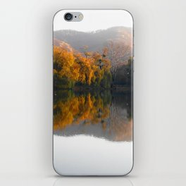 Autumn landscape on the lake. iPhone Skin