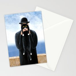 Man with a cat Stationery Cards