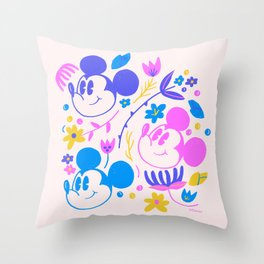 """""""Mickey Mouse Floral Pop"""" by Jenny Chang-Rodriguez Throw Pillow"""