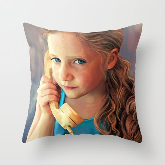 The Confidante - painting of a young girl on the phone Throw Pillow