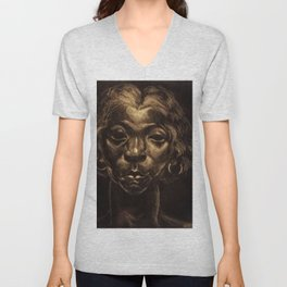 African American Masterpiece The Beautiful and Haunting 'Charlot' by Dox Thrash Unisex V-Neck