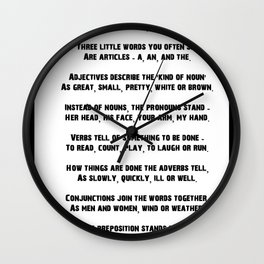 Parts of Speech Rhyme Wall Clock