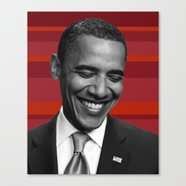 obama red stripes Canvas Print