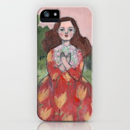 she held dreams of love and light close to her heart iPhone Case