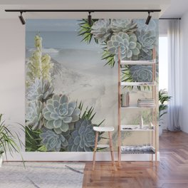 Succulent Hues of Pale Blues Wall Mural