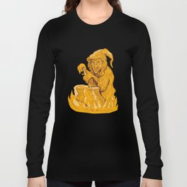Witch Stirring Brew Pot Drawing Long Sleeve T-shirt