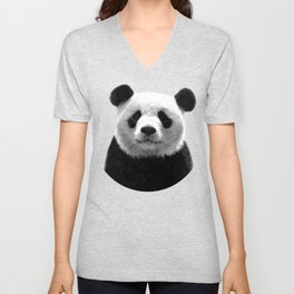 Black and white panda portrait Unisex V-Neck