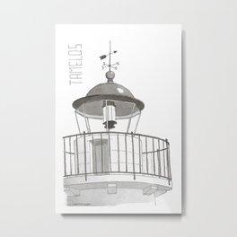 Tamelos Lighthouse in Kea Island in Greek Cyclades Metal Print