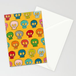 sew skully yellow Stationery Cards