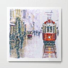 Istanbul Nostalgic Tramway Metal Print
