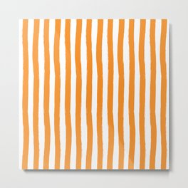 Orange and White Palm Beach Preppy Cabana Stripes Metal Print
