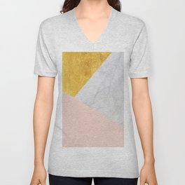 Carrara Marble with Gold and Pantone Pale Dogwood Color Unisex V-Neck