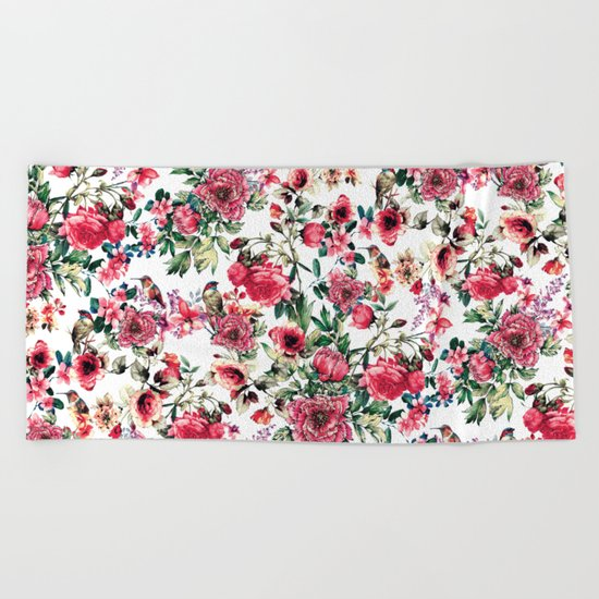 Flowers & Birds III Beach Towel