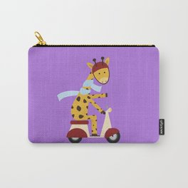 Giraffe on Motor Scooter Carry-All Pouch
