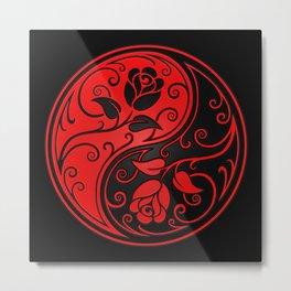 Red and Black Yin Yang Roses Metal Print