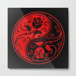 Red and Black Yin Yang Roses Metal Print