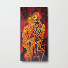 A Skeleton and Corpse Embracing Death Metal Print