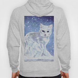 Abstract white cat Hoody