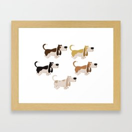 Basset Hound Colors Illustration Framed Art Print