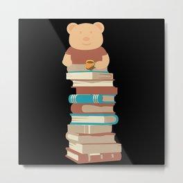 Kawaii Bear with coffee on books Metal Print