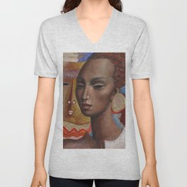 African Woman with Gold Earrings tempera and gold leaf portrait by Antonio Diego Voci Unisex V-Neck