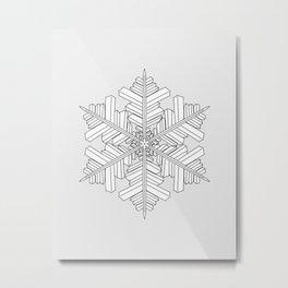 geometric snowflake on the grey Metal Print
