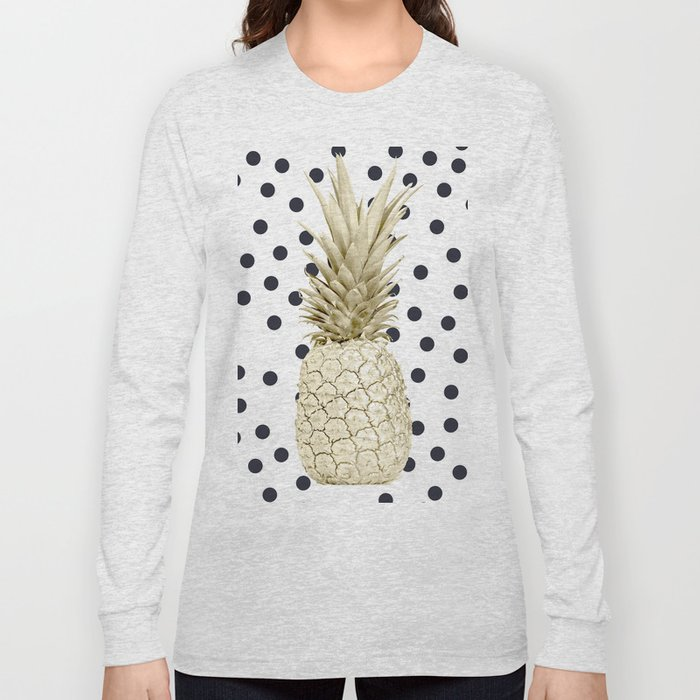 5818649ed3ea Gold Pineapple on Black and White Polka Dots Long Sleeve T-shirt by ...