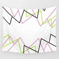 lime green Wall Tapestries featuring Lime Green Pink & Black Lines by PoseManikin