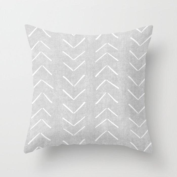 Mudcloth Big Arrows in Grey Throw Pillow