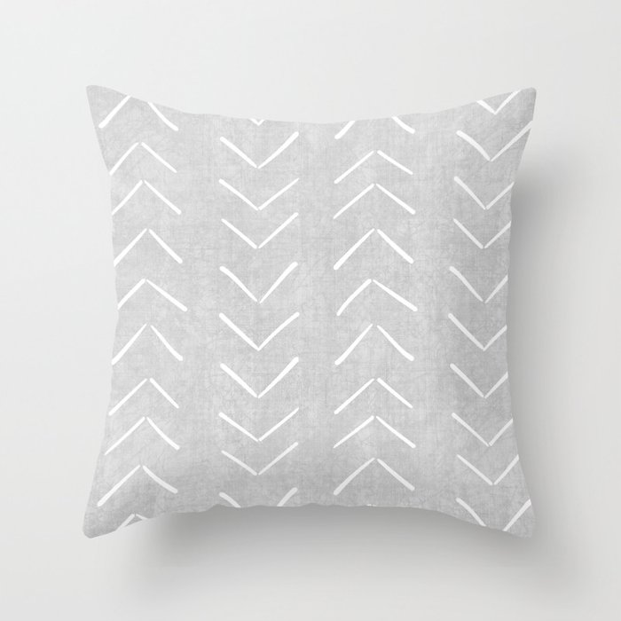 Mudcloth Big Arrows in Grey Throw Pillow