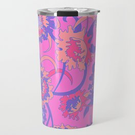Bold Tropical Floral in Neon Pink + Purple Travel Mug