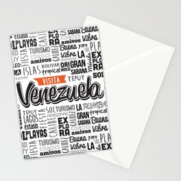 Venezuela Lettering Design - Black and white Stationery Cards