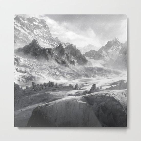 Dark & Eerie Mountains (Black & White) Metal Print