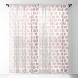 Rose Gold On White Foil Paint Line Dots Stripes Design XIV Sheer Curtain