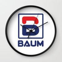 tenenbaum Wall Clocks featuring Richie 'Baum' Tenenbaum T-Shirt by Tabner's