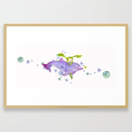 Dolphin bubbles with Obi by Isabel Wong Framed Art Print