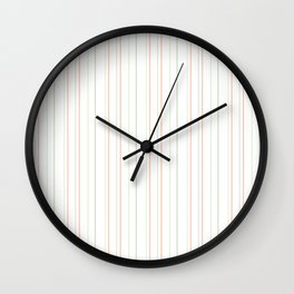 Modern geometrical pink coral green white stripes Wall Clock