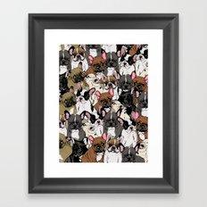 Social Frenchies Framed Art Print