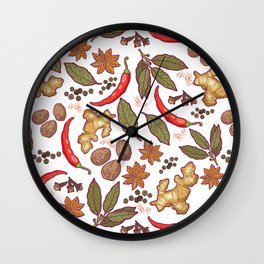 Spices pattern. Wall Clock