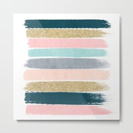 Zara - minimal gold navy pink pastel stripes painterly boho decor trendy gifts Metal Print