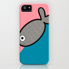 Design of a gray fish on a bicolor pink and blue background iPhone Case