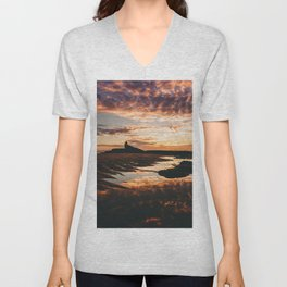 Reflective Water Landscape Cloudy Sky Sunlight After Rain Unisex V-Neck