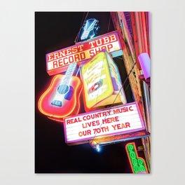 Ernest Tubb Record Shop Neon - Nashville Tennessee Canvas Print